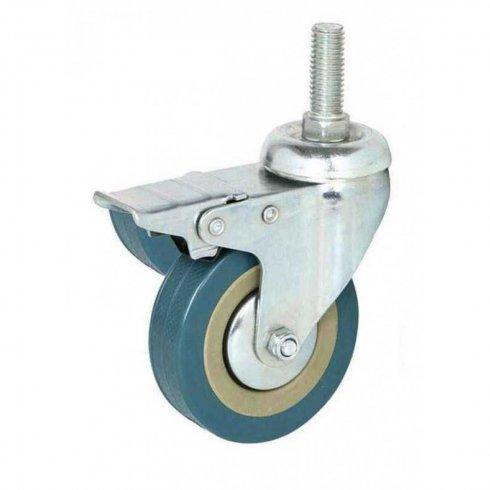 Колесо серое резиновое с болтовым креплением М10 и тормозом 50 мм SCTGB25-10