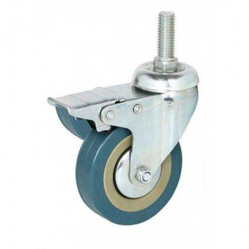 Купить колесо серое резиновое с болтовым креплением М10 и тормозом 75 мм SCTGB93Д