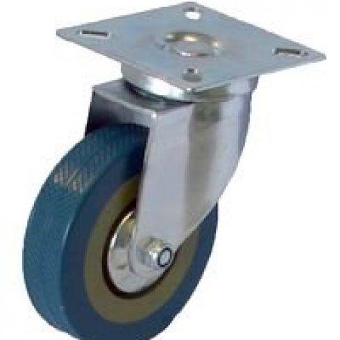 Колесо серое резиновое  поворотное  125мм SCG55