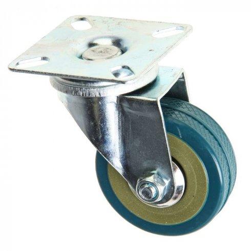 Колесо серое резиновое  поворотное  75 мм SCG93