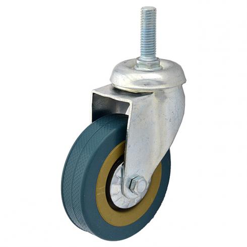 Колесо серое резиновое болтовое крепление М12 100 мм SCTG42