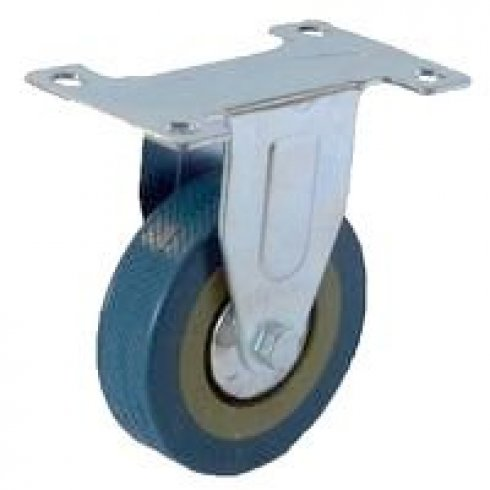 Колесо серое резиновое неповоротное 125 мм FCG55