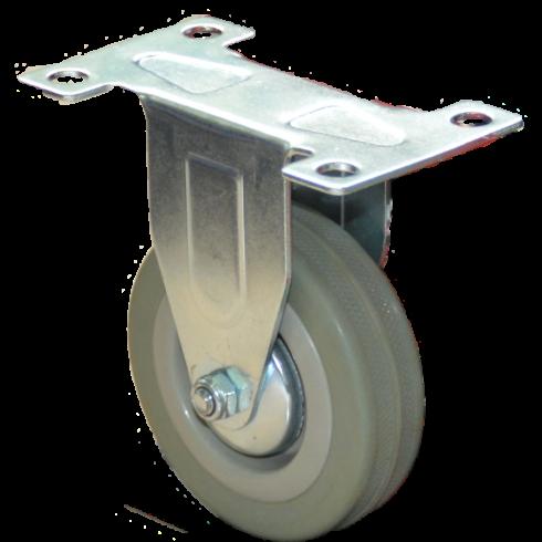 Колесо серое мягкая резина неповоротное 125 мм FCG55