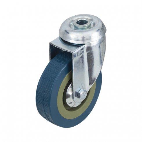 Колесо серое резиновое  поворотное  100мм SCHG42 под болт отверстием 12 мм