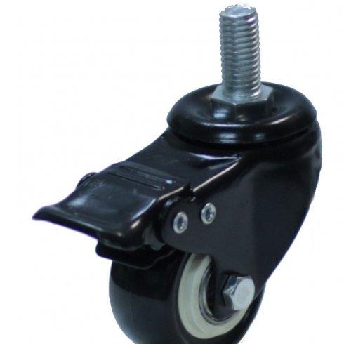 Колесо черная резина болтовое крепление М8 поворотное с тормозом 40 мм