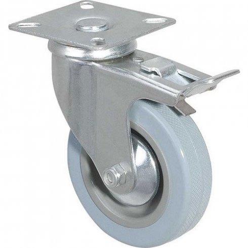 Колесо серое мягкая резина поворотное с тормозом 100 мм SCGB42