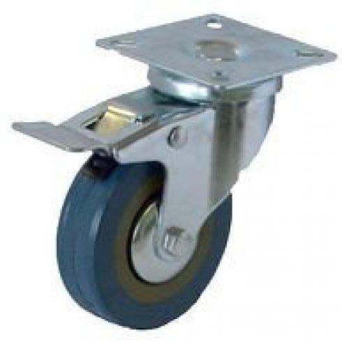 Колесо серое резиновое поворотное с тормозом 100 мм SCGB42