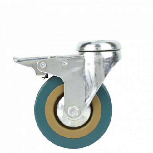 Колесо серое резиновое с тормозом 50 мм SCHGB25 под болт отверстием 10 мм