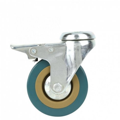 Колесо серое резиновое с тормозом 100 мм SCHGB42 под болт отверстием 12 мм