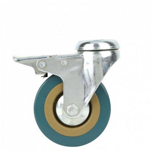 Колесо серое резиновое с тормозом 125 мм SCHGB55 под болт отверстием 12 мм