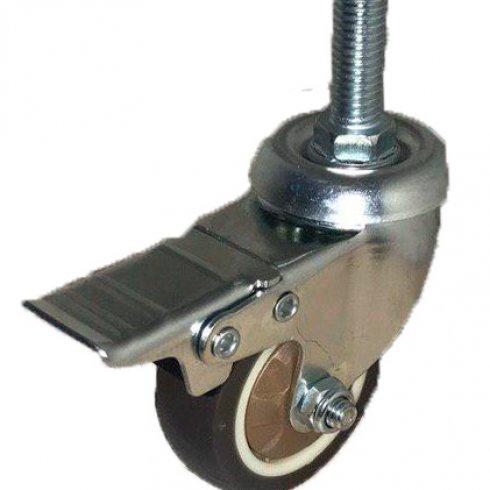 Колесо коричневая мягкая резина с болтовым креплением М10 и тормозом 75 мм SCTGB93Д