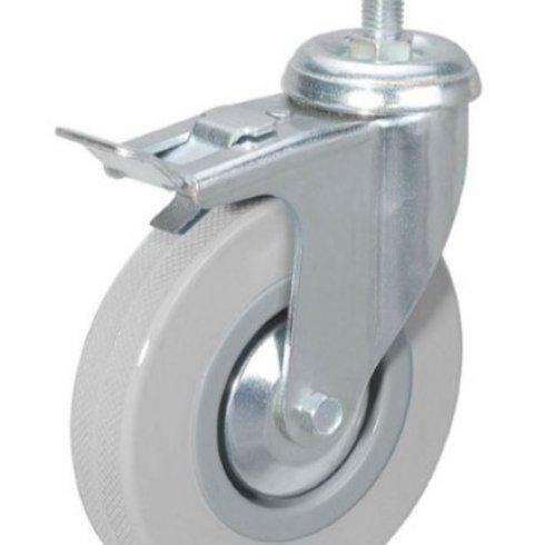 Колесо серое мягкая резина с болтом М10 75 мм SCTGB93