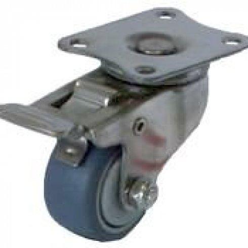 Колесо серое мягкая резина поворотное с тормозом 50 мм SUS 304. Кронштейн - нержавеющая сталь