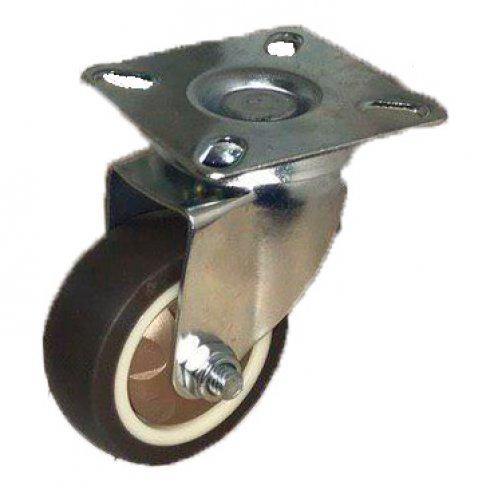 Колесо коричневая мягкая резина поворотное 75 мм SCG93