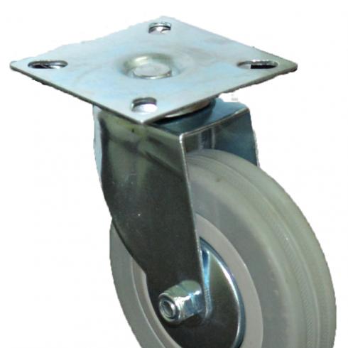 Колесо серое мягкая резина поворотное  100 мм SCG42