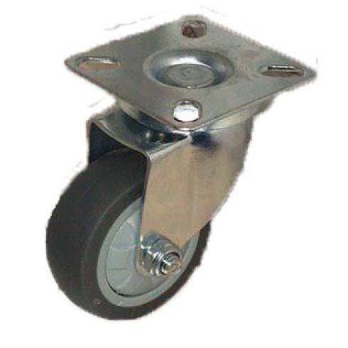 Колесо темная серая мягкая гладкая резина поворотное 75 мм SCG93