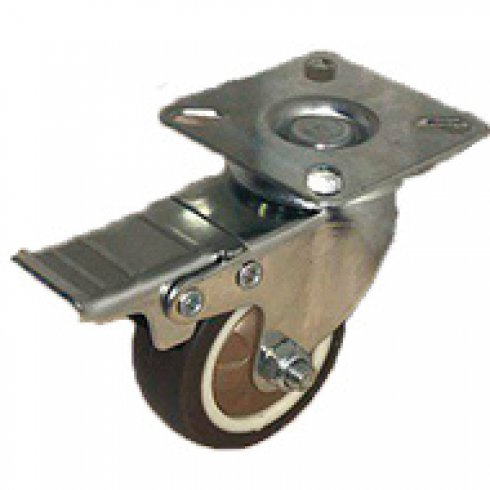 Колесо коричневая мягкая резина поворотное 75 мм SCGB(M)25