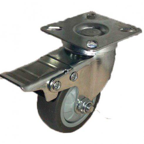 Колесо темная серая мягкая гладкая резина поворотное с тормозом 50 мм SCGB25