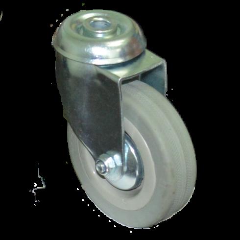Колесо серое мягкая резина поворотное  100 мм SCHG42 под болт отверстием 12 мм