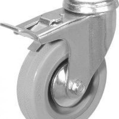 Колесо серое мягкая резина поворотное  100 мм SCHGB42 под болт отверстием 12 мм