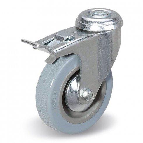 Колесо серое мягкая резина поворотное  50мм SCHGB25 под болт отверстием 10 мм