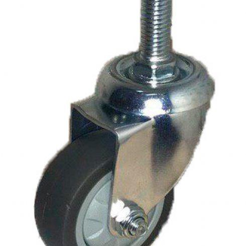 Колесо темная серая мягкая гладкая резина болт М10 поворотное 75 мм SCTG93