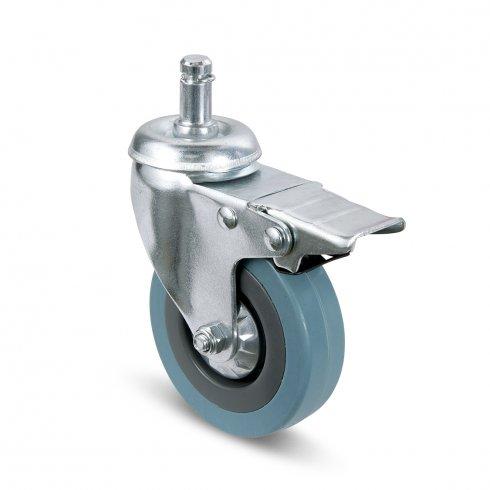 Колесо серое мягкая резина с болтом М12 и тормозом 100 мм SCTGB42