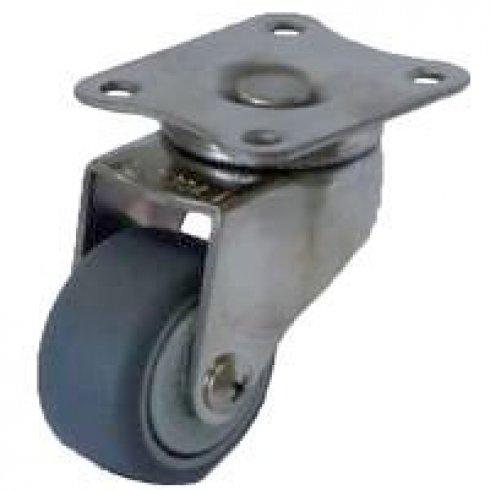 Колесо серое мягкая резина поворотное 50 мм SUS 304. Кронштейн - нержавеющая сталь