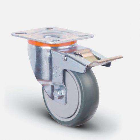 Колесо аппаратное  поворотное с подшипником с тормозом 100 мм EM01 MBT 100 F, диск-пропилен
