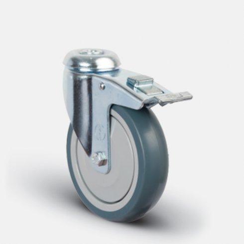 Колесо аппаратное  поворотное с подшипником под болт М12 с тормозом 200 мм ER04 MBT 200 F, диск-пропилен
