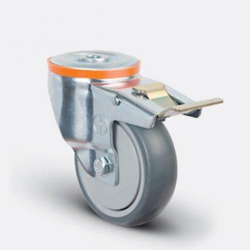 Колесо аппаратное  поворотное с подшипником под болт М12 с тормозом 100 мм EM04 MBT 100 F М12, диск-пропилен