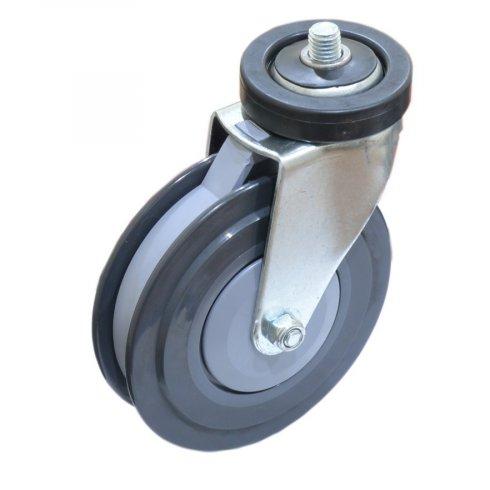 Колесо серая резина с болтом М12 125 мм для покупательской тележки, для траволатора