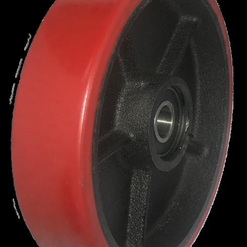 Колесо красное полиуретановое опорное для рохли 200 мм, диск-чугун