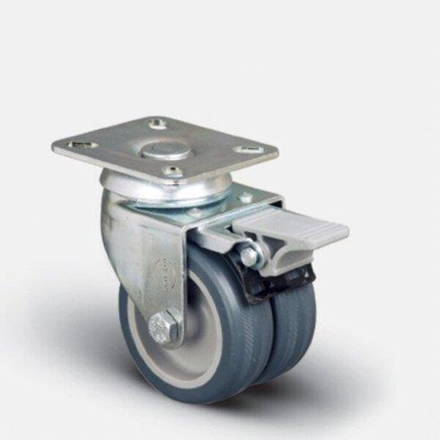 Колесо аппаратное сдвоенное поворотное 75 мм ET01 MKT 75 F, диск-пропилен