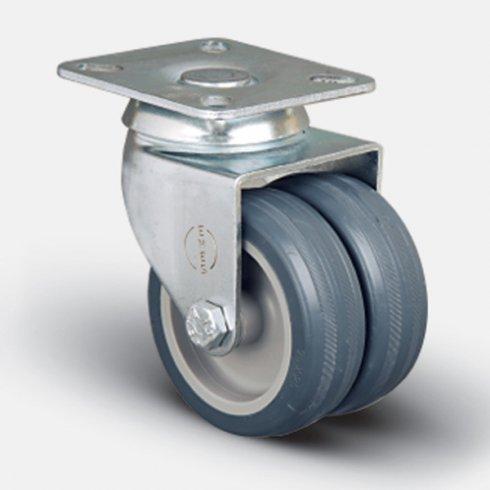Колесо аппаратное сдвоенное поворотное 75 мм ET01 MKT 75, диск-пропилен