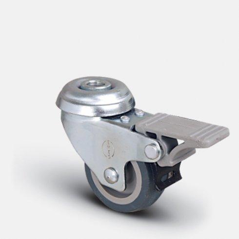 Колесо поворотное мебельное под болт М10 с тормозом 100 мм EP04 MKT 100 F, диск-пропилен