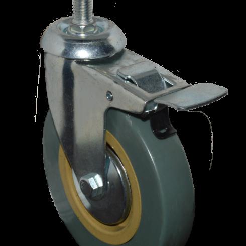 Колесо зеленая резина с болтом М10 75 мм с тормозом