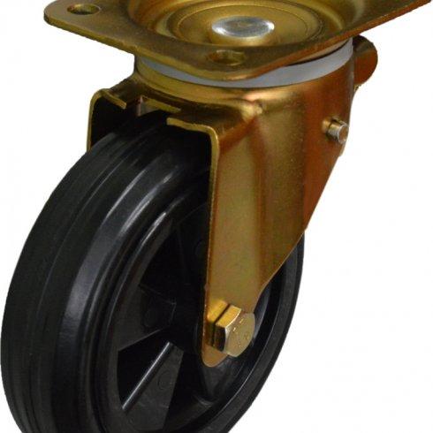 Колесо для мусорных контейнеров усиленное анодированный кронштейн поворотное 160 мм SC63KU