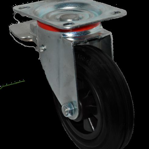 Колесо для мусорных контейнеров усиленное поворотное с тормозом 200 мм SCB80KU