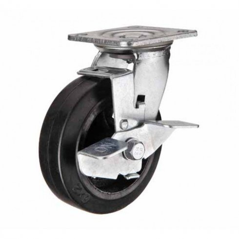 Колесо большегрузное обрезиненное поворотное с тормозом 160 мм SCDB63