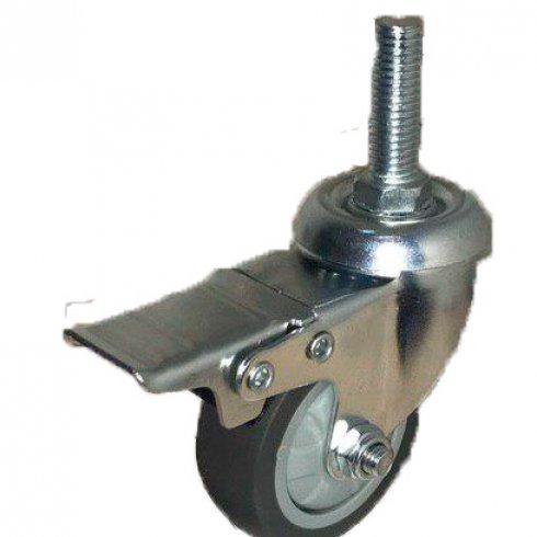 Колесо темная серая мягкая гладкая резина с болтовым креплением и тормозом М10 75 мм SCTGB93
