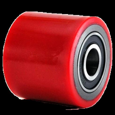 Ролик красный полиуретановый для рохли 80х50 мм