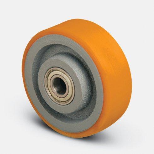 Колесо для рохли  опорное 200 мм, чугун-полиуретан, подшипник не втоплен VBPd-200-20