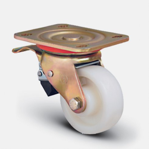 Колесо нейлоновое поворотное усиленный кронштейн с тормозом 200 мм ED01 ZKZ 200 F