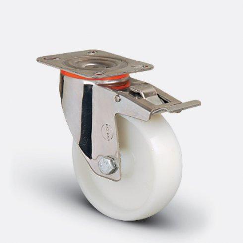 Колесо нейлоновое поворотное под болт М12 с тормозом 200 мм EM04 ZKZ 200 F