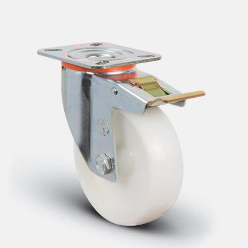 Колесо нейлоновое поворотное с тормозом 200 мм EM01 ZKZ 200 F