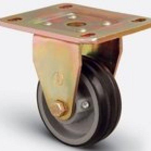 Колесо большегрузное обрезиненное неповоротное 125 мм ED02 VBR 125, диск-чугун