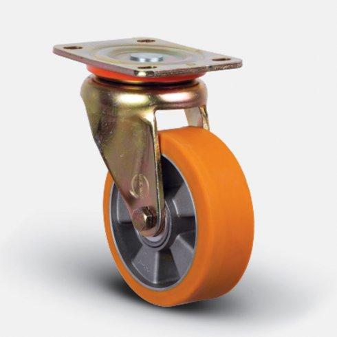 Колесо полиуретановое, диск-алюминий, поворотное 100 мм ED01-ABP-100
