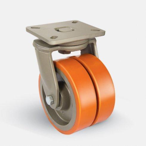 Колесо полиуретановое сдвоенное поворотное 200 мм EJ01 VBP 200