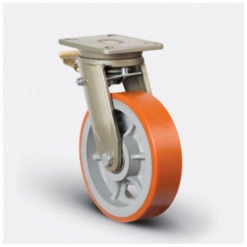Колесо полиуретановое  сверхмощное поворотное с тормозом 250 мм EV01 VBP 250 F